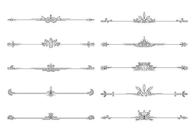 Conjunto de elementos decorativos, regras de borda e página