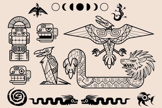 Conjunto de elementos decorativos tribais de padrões maias ou astecas