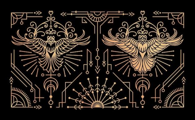 Conjunto de elementos decorativos vintage de pássaro dourado
