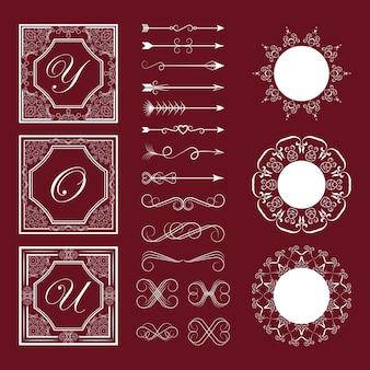 Conjunto de elementos decorativos
