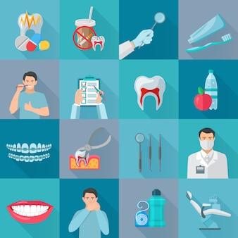 Conjunto de elementos dentários de sombra cor plana com instrumentos para tratamento de dentes e produtos de higiene isolado ilustração vetorial