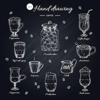 Conjunto de elementos desenhados à mão de café