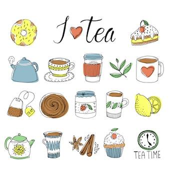 Conjunto de elementos desenhados à mão de chá