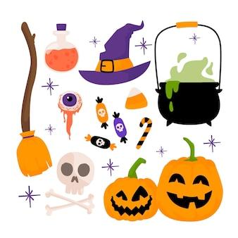 Conjunto de elementos desenhados à mão de halloween