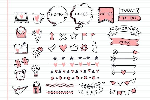 Conjunto de elementos desenhados à mão para diários com marcadores