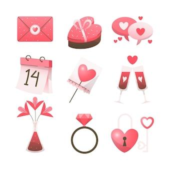 Conjunto de elementos desenhados à mão para o dia dos namorados
