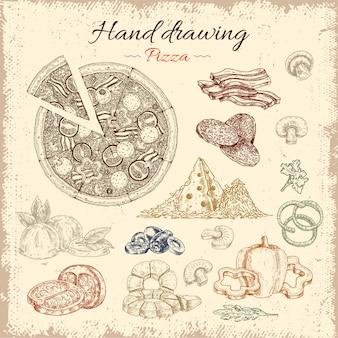 Conjunto de elementos desenhados à mão pizza