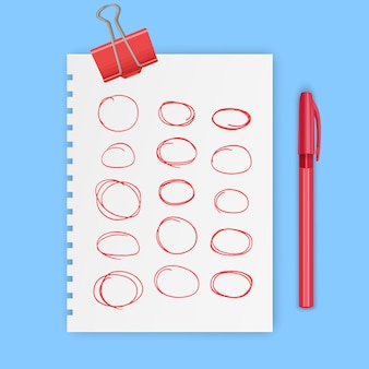 Conjunto de elementos desenhados à mão vermelha para selecionar oval de esboço de texto