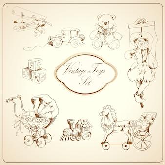 Conjunto de elementos desenhados de brinquedos retrô