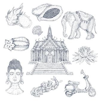 Conjunto de elementos desenhados em tailandês
