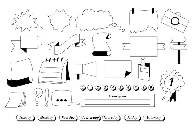 Conjunto de elementos desenhados para diários com marcadores