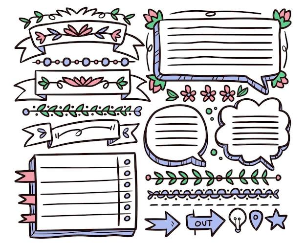 Conjunto de elementos desenhados para diários de marcadores