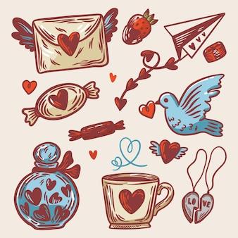 Conjunto de elementos desenhados para o dia dos namorados