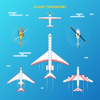 Conjunto de elementos do aeroporto de transporte aéreo