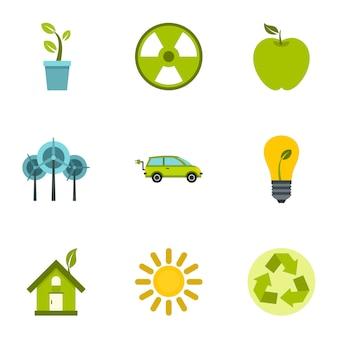 Conjunto de elementos do ambiente natural, estilo simples