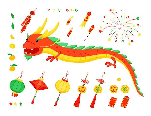 Conjunto de elementos do ano novo chinês.