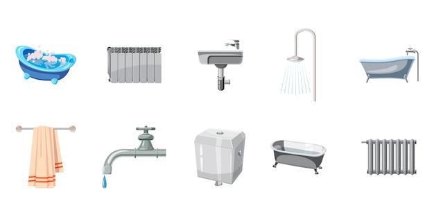 Conjunto de elementos do banheiro. caricatura, jogo, de, banheiro