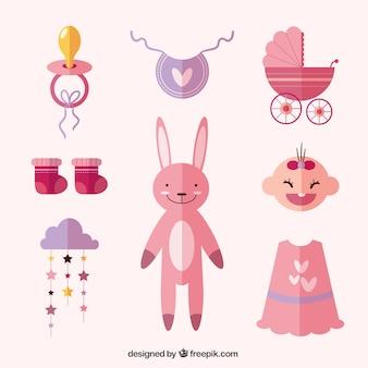 Conjunto de elementos do bebê e coelho de pelúcia