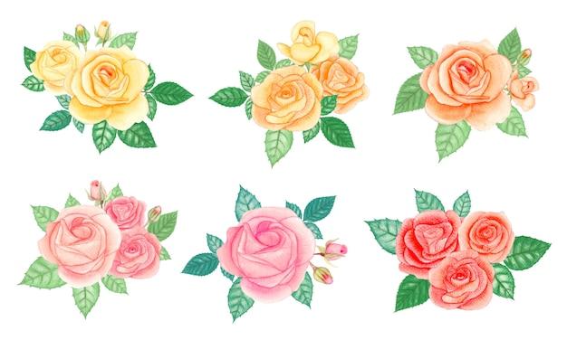 Conjunto de elementos do buquê de rosas em aquarela. ilustração de mão desenhada.