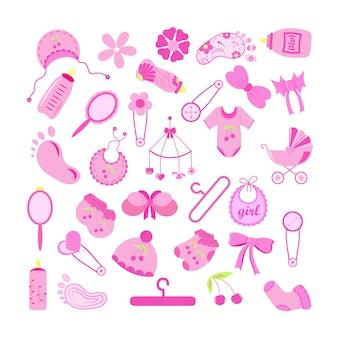 Conjunto de elementos do chuveiro de bebê no fundo branco. ilustração