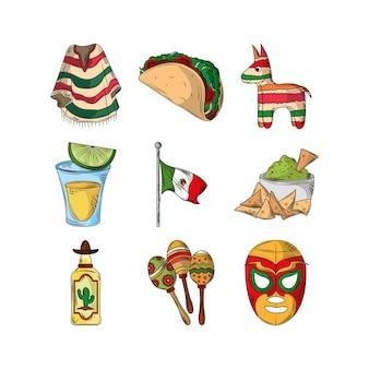 Conjunto de elementos do cinco de mayo mexicano