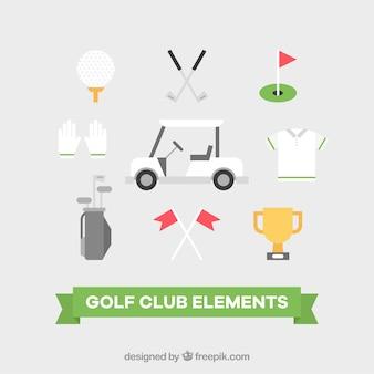 Conjunto de elementos do clube de golfe em estilo plano