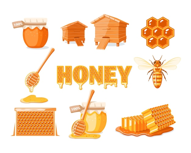 Conjunto de elementos do conceito de mel isolado