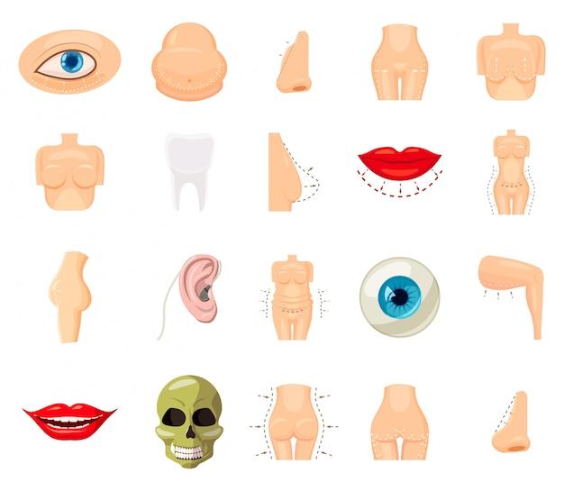 Conjunto de elementos do corpo humano. conjunto de desenhos animados do corpo humano