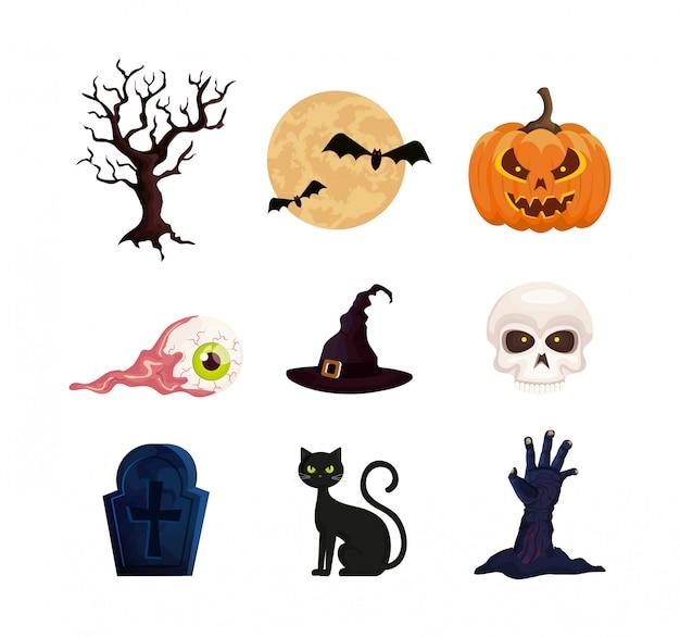 Conjunto de elementos do dia das bruxas