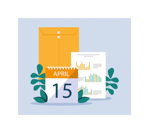 Conjunto de elementos do dia do imposto