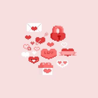 Conjunto de elementos do dia dos namorados de pixel