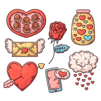 Conjunto de elementos do dia dos namorados desenhado à mão