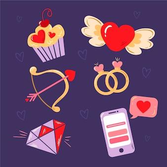 Conjunto de elementos do dia dos namorados desenhados à mão