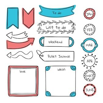 Conjunto de elementos do diário com marcadores desenhados à mão