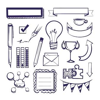 Conjunto de elementos do diário com marcadores desenhados