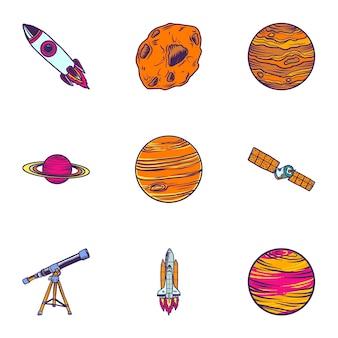 Conjunto de elementos do espaço, estilo colorido mão desenhada
