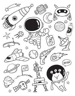 Conjunto de elementos do espaço galazy doodle