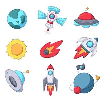 Conjunto de elementos do espaço sideral doodle