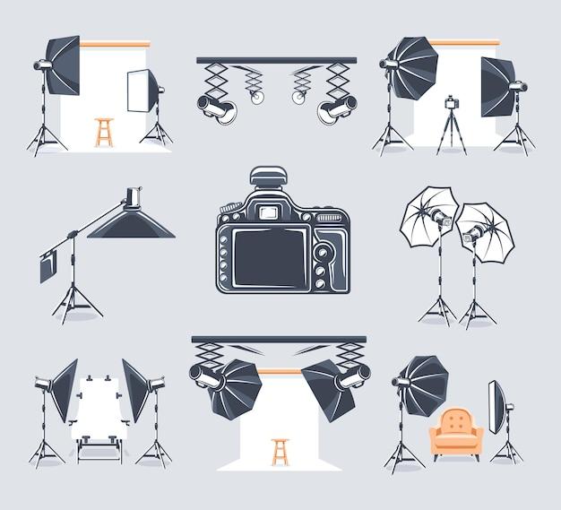 Conjunto de elementos do estúdio fotográfico