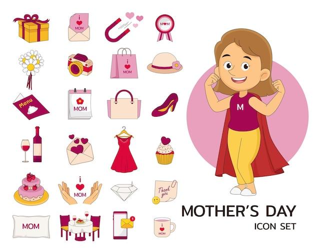 Conjunto de elementos do feliz dia das mães