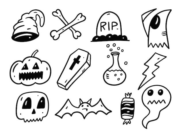 Conjunto de elementos do feriado de halloween isolado no branco