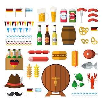 Conjunto de elementos do festival de cerveja para a oktoberfest