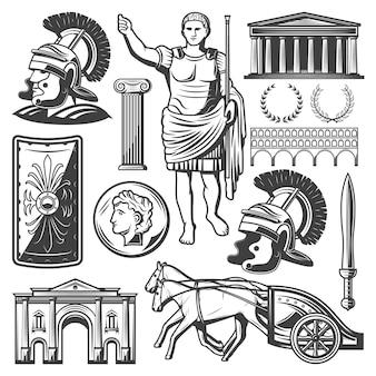 Conjunto de elementos do império romano vintage com espada de gladiador