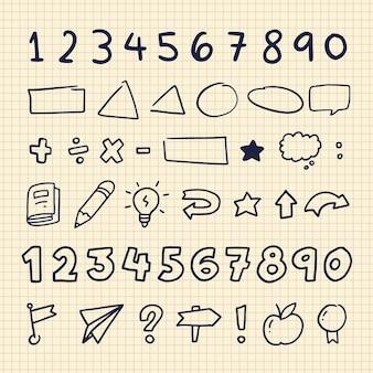 Conjunto de elementos do infográfico escolar desenhado à mão