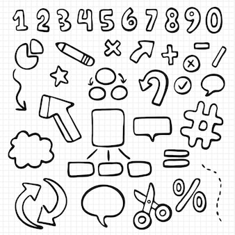 Conjunto de elementos do infográfico escolar desenhado