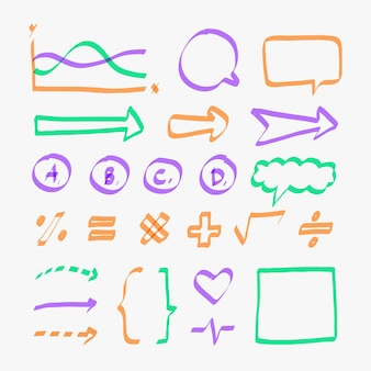 Conjunto de elementos do infográfico escolar em cores diferentes