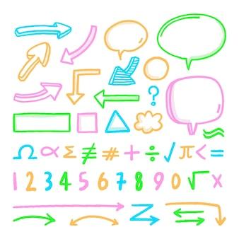 Conjunto de elementos do infográfico escolar