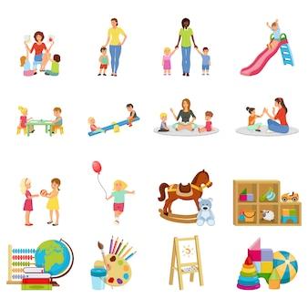 Conjunto de elementos do jardim de infância