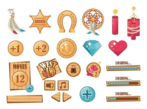 Conjunto de elementos do jogo oeste