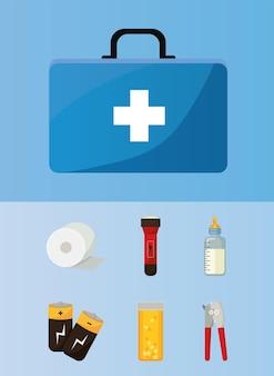 Conjunto de elementos do kit de emergência